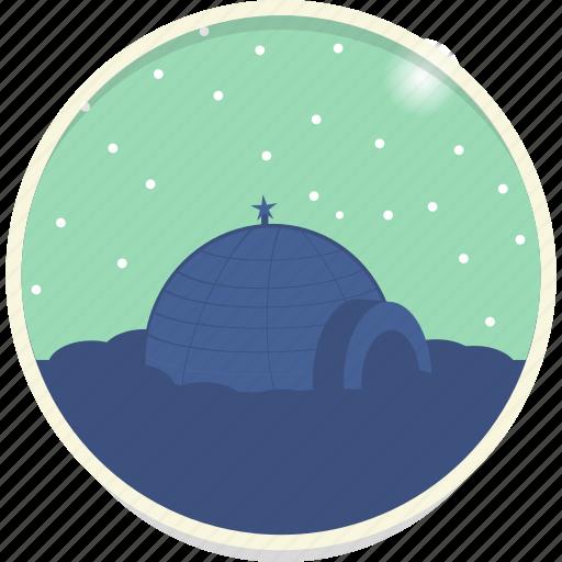 christmas, eskimo, igloo, north pole, snow, snowfall, winter icon