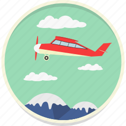 flight, fly, jet, mountain, sky, tourism, travel icon