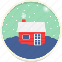 chimney, cottage, snowfall, winter, hygge, cabin, christmas