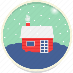 chimney, christmas, cottage, north pole, snow, snowfall, winter icon