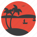 beach, boat, coconut tree, recreation, sea, tourism, vacation icon