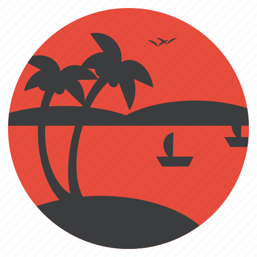beach, boat, coconut tree, recreation, sea, tourism, vacation icon