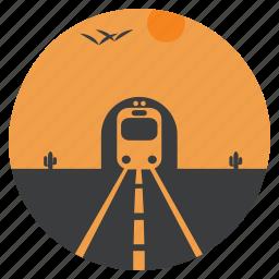 cactus, desert, landscape, scenery, train, transport, tunnel icon