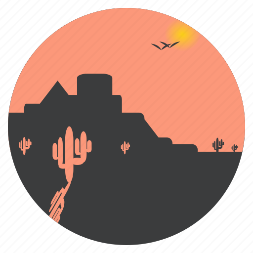 cactus, desert, fort, hot, landscape, sunny, weather icon