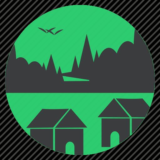 birds, forest, hut, landscape, scenery, trees, village icon