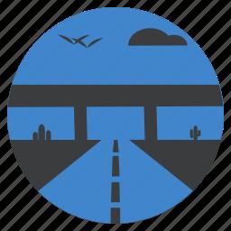 cactus, flyover, highway, landscape, roadway, transport, travel icon
