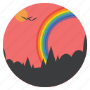 birds, ecology, forest, landscape, rainbow, scenery, vibgyor icon