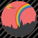 birds, ecology, forest, landscape, rainbow, scenery, vibgyor icon