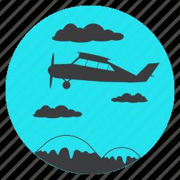 flight, fly, jet, mountain, sky, tourism, travel icon