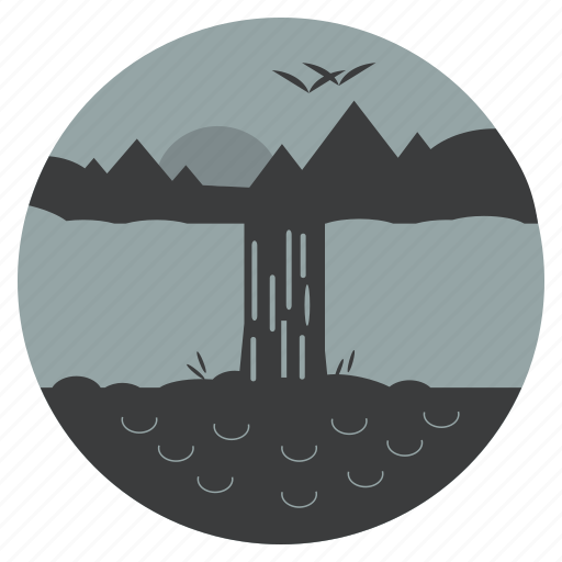 forest, mountain, nature, river, scenery, trees, waterfalls icon