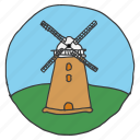 electricity, energy, generation, landscape, power, scenery, windmill icon