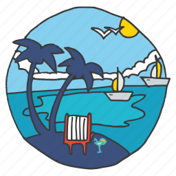 beach, boats, coconut trees, recreation, sunny, tourism, vacation icon