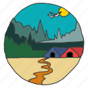 ecology, forest, huts, nature, scenery, trees, village icon