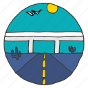 cactus, desert, flyover, highway, landscape, road, travel icon