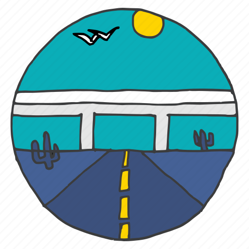 cactus, desert, flyover, highway, landscape, road, travel icon