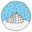 christmas, eskimo, igloo, landscape, north pole, snowfall, winter icon