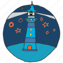 guide, light, lighthouse, navigation, night, sea, shore icon
