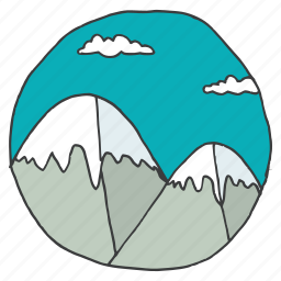 clouds, landscape, mountain, scenery, sky, snow, vacation icon