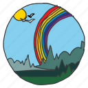 forest, nature, rainbow, scenery, sky, sun, trees icon