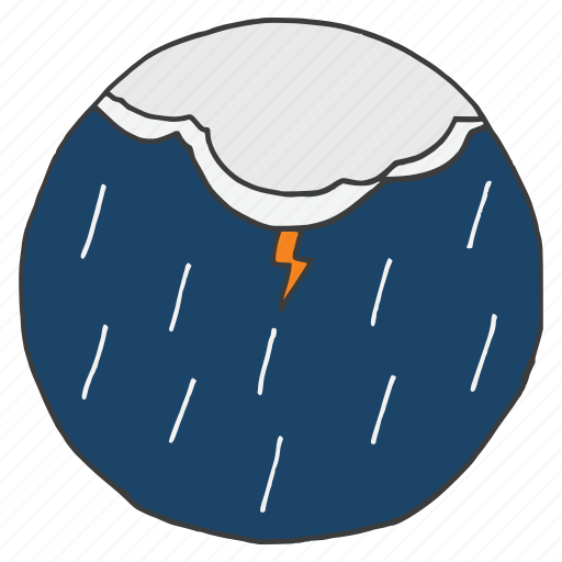 clouds, forecast, lightning, rainfall, storm, thunder, weather icon