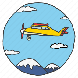 clouds, fly, jet, mountains, sky, tourism, travel icon