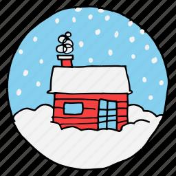 chimney, christmas, cottage, eskimo, newyear, north pole, snowfall icon