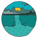 landscape, mountain, nature, river, scenery, trees, waterfalls icon