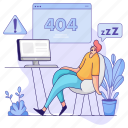 error, man, warning, webpage, alert, sleep, tired, snooze icon
