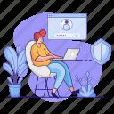 accounts, man, workspace, desk, laptop, login, user