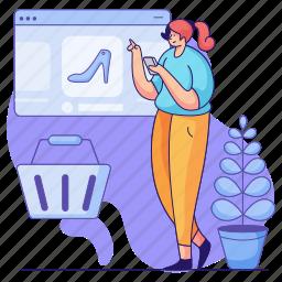 e, commerce, woman, online, shopping, shoe, footwear, ecommerce