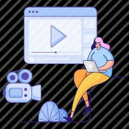 media, woman, social, clip, multimedia, camera, video