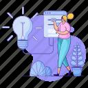 product, development, woman, idea, thought, lightbulb, light, flashlight icon