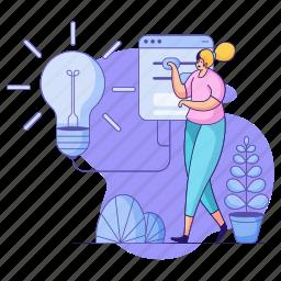 product, development, woman, idea, thought, lightbulb, light, flashlight