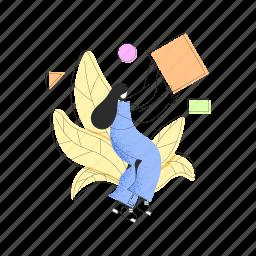 character, builder, woman, female, shape, plant, leaf