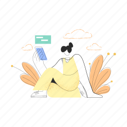 mobile, device, woman, smartphone, leaf, cloud