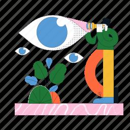 search, man, woman, vision, visibility, eye, plant