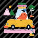 travel, travelling, transport, transportation, car, vehicle, man