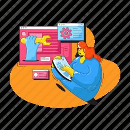 web, development, maintenance, settings, options, construction, woman