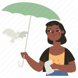 animals, ecology, security, umbrella, protection, bird, animal, outdoors, woman, person
