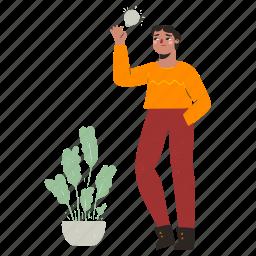 product, development, man, lightbulb, idea, innovation, plant, person