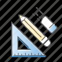 draw, erase, pencil, school icon