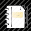 data, document, gradebook, notebook, notes icon