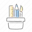 paintbrush, pencil, ruler, school icon
