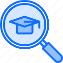 cap, lesson, magnifier, school, search, student, university