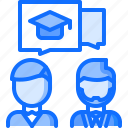 dialogue, lesson, school, student, talk, teacher, university icon