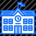 building, clock, lesson, school, student, university icon