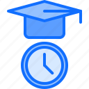 cap, lesson, school, student, time, university, watch