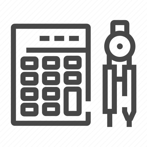 calculator, compass, figures, mathematician icon