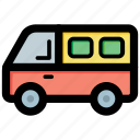 coach, motor bus, school bus, school van, transport icon