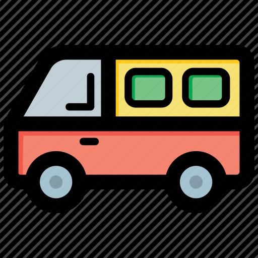 coach, motor bus, school bus, school van, transport icon